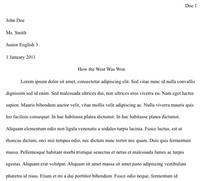 proper header for college essay