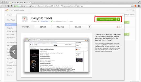 chrome ext store EasyBibs New Extensions: two/too easy buttons?